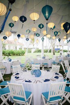 White blue and teal wedding reception set up and theme. #HoiAnEventsWeddings #HoiAn #VietnamBeachWeddings