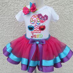 Rainbow Chevron Sesame Street Birthday Satin Ribbon Tutu-Personalized Birthday Tutu,Sizes 6m - 14/16