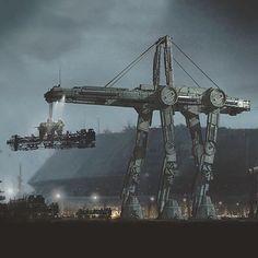 Crane Walker Heavy Hauler - Star Wars Canvas - Latest and trending Star Wars Canvas. Star Wars Rpg, Star Wars Ships, Lego Star Wars, Star Wars Concept Art, Star Wars Fan Art, Star Wars Painting, Cyberpunk, Star Wars Design, Star Wars Facts