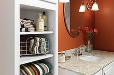 Browse pictures of the latest trends in bathroom cabinetry and discover bathroom storage solutions from HGTVRemodels. Bathroom Cabinetry, Bath Cabinets, Bathroom Fixtures, Bathroom Flooring, Bathroom Renovations, Bathroom Lighting, Plumbing Fixtures, Bathroom Layout, Small Bathroom
