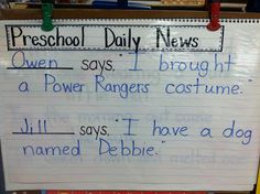 Preschool Daily News in place of morning message