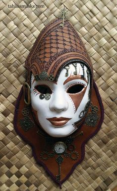 STEAMPUNK MASK WITH LEATHER HELMET AND BRASS AND COPPER DECORATION