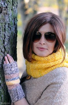 Chunky knit infinity scarf Hand knitted scarf Knit accessories for autumn by Nastiin