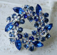 Royal Blue Brooch Pin. Sapphire Wreath Brooch/ attach to ribbon/ $14/ cool way to incorporate blue into your outfit.