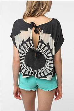 Urban Outfitters - Staring at Stars Burnout Open Back Tee Tees For Women, Clothes For Women, Short Models, Love Fashion, Urban Outfitters, Style Me, Latest Trends, How To Wear, Stars