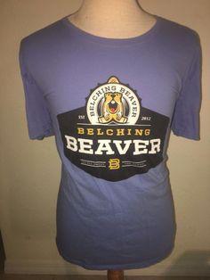 Belching Beaver Brewery T Shirt Mens XL Stout Craft Micro Beer Bartender Ale  #Gildan #GraphicTee