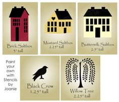 STENCIL-Saltbox-House-Home-Folk-Art-Primitive-Crow-Willow-Tree-Country-Signs