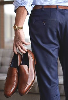 Brown Loafers, Blue Slacks, Striped Shirt