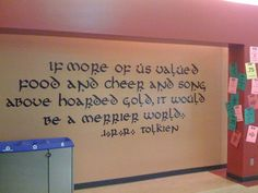 """If more of us valued food and cheer and song above hoarded gold, it would be a merrier world."" - Thorin"