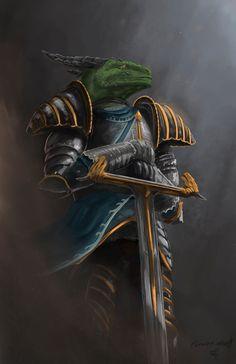 noble dragonborn lizardfolk knight fighter