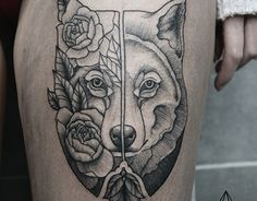 two faced wolf tattoo