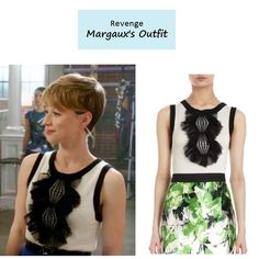 "November 11, 2013 @ 10:34 pm Karine Vanasse as Margaux LeMarchal in Revenge - ""Resurgence"" (Ep. 307).  Margaux's Top:Prabal Gurung Ruffled Crochet Front Sweater sold out here 