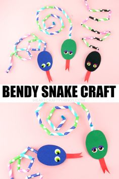 Cut up patterned paper straws and use them to design a bendy snake craft. Great for working on patterns and working fine motor muscles. Fun summer kids craft and animal crafts. #summercraftsforkids #summerkids craft #kidscraft #craftsforkids #animalcraft #kidsactivities #iheartcraftythings