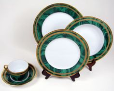 5 PIECE CHRISTIAN DIOR GAUDRON MALACHITE GREEN PLACE SETTING FINE CHINA  This was my formal  china sold all that too.