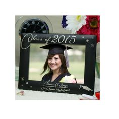 Engraved Black Graduation Wood Frame by BellasPersonalGifts
