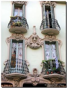 Barcelona (Spain).  View Large On White  An art-nouveau building...   Un edificio modernista. Está en Gran Via 439.