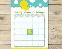 Rubber Duck Baby Shower Bingo Game Printable Rubber Ducky