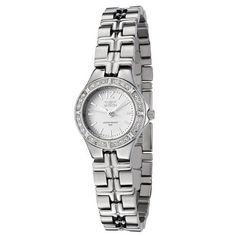 Invicta Women's 0129 II Collection Stainless Steel Watch. Precise Swiss-quartz movement. Durable flame-fusion crystal; brushed and polished stainless steel case and bracelet. Second hand. White dial with silver-tone hands and hour markers. Water resistant to 165 feet (50 M): suitable for swimming and showering.