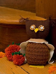Halloween Knitted Crafts - Make Knitted Owl for Halloween decorations at WomansDay.com - Woman's Day