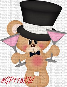 SL- NEW YEARS BEAR ~ Scrapbook Embellishment GNB1654M