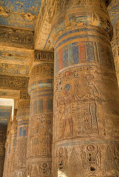Columns in Second Court, Medinet Habu (Mortuary Temple of Ramses III), West… Ancient Egypt Art, Old Egypt, Ancient Ruins, Ancient History, Art History, Egyptian Temple, Egyptian Art, Ancient Egyptian Architecture, Monuments
