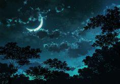 clouds dark jpeg_artifacts landscape moon night nobody original scenic sky stars tagme_(artist) tree