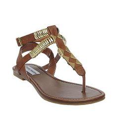 #INVISION cognac womens sandal flat ankle strap - Steve Madden