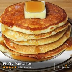 Tall, fluffy pancakes make the best breakfast, especially when there's plenty of butter and syrup. What's For Breakfast, Breakfast Pancakes, Pancakes And Waffles, Breakfast Items, Breakfast Dishes, Breakfast Recipes, Pancakes From Scatch, Star Recipe, 5 Star Pancake Recipe