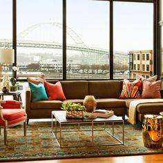 Huge windows, colorful accents
