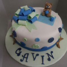 Teddy Bear Cake for Boy Baby Shower Facebook.com/beccascakesandbakes