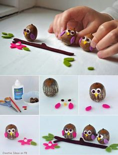 I& make these owls with eggs, so I can put them on my Easter bouquet. Kids Crafts, Owl Crafts, Crafts To Do, Arts And Crafts, Autumn Crafts, Nature Crafts, Fall Projects, Craft Projects, Project Ideas
