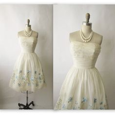 50s Prom Dress // Vintage 1950s Embroidered by TheVintageStudio, $128.00