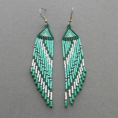 Turquoise seed bead earrings fringe dangle by Anabel27shop on Etsy,