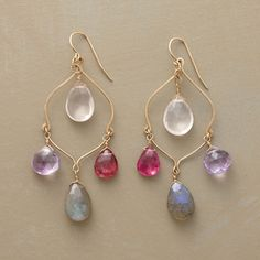 "Ranee earrings: rose quartz, amethyst, pink tourmaline and labradorite on 14kt goldfill French wires, 2.5"", $498"