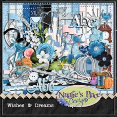 A dream is a wish the heart makes....  Who doesn't love Cinderella!  She represents hope and dreams and that good finishes on top! This kit was a special request and I really enjoyed working on this one!     it has 16 papers, 6 flowers, 2 leaves, 12 ribbons, 1 rope, 2 bows, a string, stitches, a berry pick, 2 borders, 4 frames. needle & thread, a spool, a button, a clock, a clock face, a bunting, a flourish, a pumpkin, a pumpkin vine, a glass slipper, two mice, 4 pennants, 3 heart flairs...