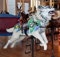 Wolf on the Great Plains Carousel in Helena MT seems a little ferocious for a fun kiddy ride.