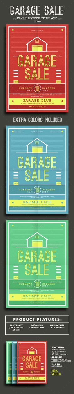 Buy Garage Sale Flyer by Guuver on GraphicRiver. Garage Sale flyer This flyer made for garage event, u can use this flyer for garage sale, garage band, house event, o. Yard Sale Signs, For Sale Sign, Flyer Poster, Sale Poster, Flyer Free, Sale Flyer, Flyer Design Templates, Flyer Template, Flyer Fashion