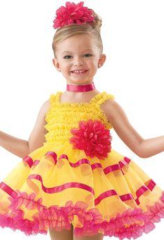 NWT RUFFLED CAMISOLE LYRICAL DRESS RUFFLES ORANGE PINK LADIES DANCE COSTUME