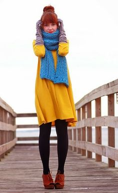 Blue scarf and yellow dress