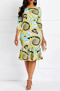 Ankara Print Slash Neck Mermaid Women& Bodycon Dress f. Short African Dresses, African Fashion Designers, Latest African Fashion Dresses, African Print Dresses, African Print Fashion, Women's Fashion Dresses, African Dress Styles, African Style, Chitenge Dresses