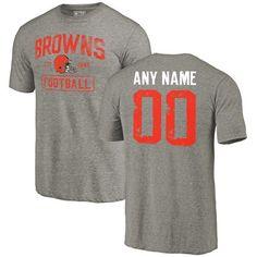 Men Gray Cleveland Browns Distressed Custom Name and Number Tri-Blend  Custom NFL T-Shirt b45993450