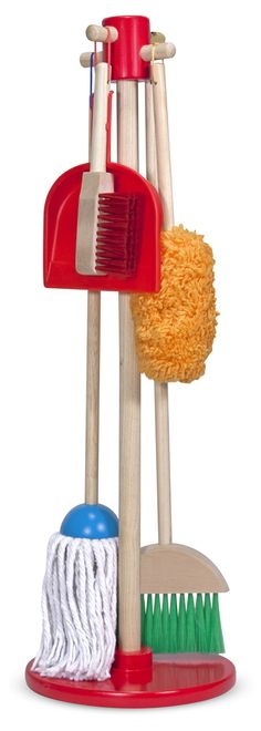 This six-piece play set gives kids all the housekeeping tools they need to keep it clean! Sized just for kids and built to last, the broom, mop, duster, dust pan, and hand brush are comfortable to use and easy to store--just hang them from the sturdy cords onto the included stand for neat, compact storage.