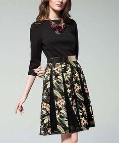Look at this #zulilyfind! Black & Yellow Floral Three Quarter-Sleeve Dress #zulilyfinds