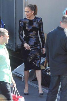 Jennifer Lopez wearing Christian Louboutin Top Vague Pumps and Tom Ford Embellished Dress
