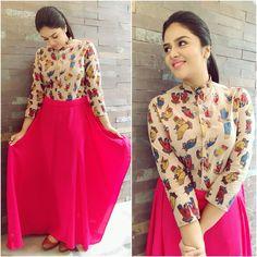 Flattering Kalamkari Dresses from Rekha's Couture Shrug For Dresses, Indian Gowns Dresses, Indian Fashion Dresses, Indian Designer Outfits, Designer Dresses, Stylish Dresses For Girls, Stylish Dress Designs, Designs For Dresses, Ladies Dresses