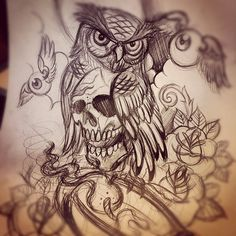 owl tattoo. Don't really like the  skull tattoo on here but this is cool