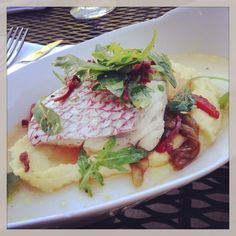 Snapper @brasserieSTL poached in tomato water w/ polenta, roasted peppers, and country ham