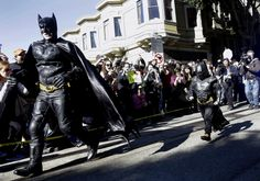 'Batkid' fighting crime in San Francisco          Dressed in a black Batman costume, his fists clenched as he took on foe after foe around San Francisco, a 5-year-old boy who has battled leukemia for years fulfilled his wish Friday to be his favorite superhero.