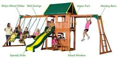 Bring joy to your backyard with this playset. Suitable for boys and girls, the Backyard Discovery Prairie Ridge playset includes monkey bars, slide and swings. A snack stand on the lower level feature Backyard Swing Sets, Backyard Playset, Outdoor Playset, Backyard Ideas, Garden Ideas, Playground Set, Backyard Playground, Natural Playground, Outdoor Toys