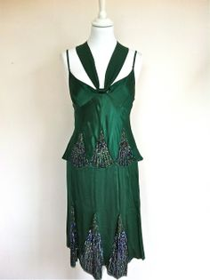 Patrizia Pépé Bottle Green Silk Beaded Top and Skirt via The Queen Bee. Click on the image to see more!
